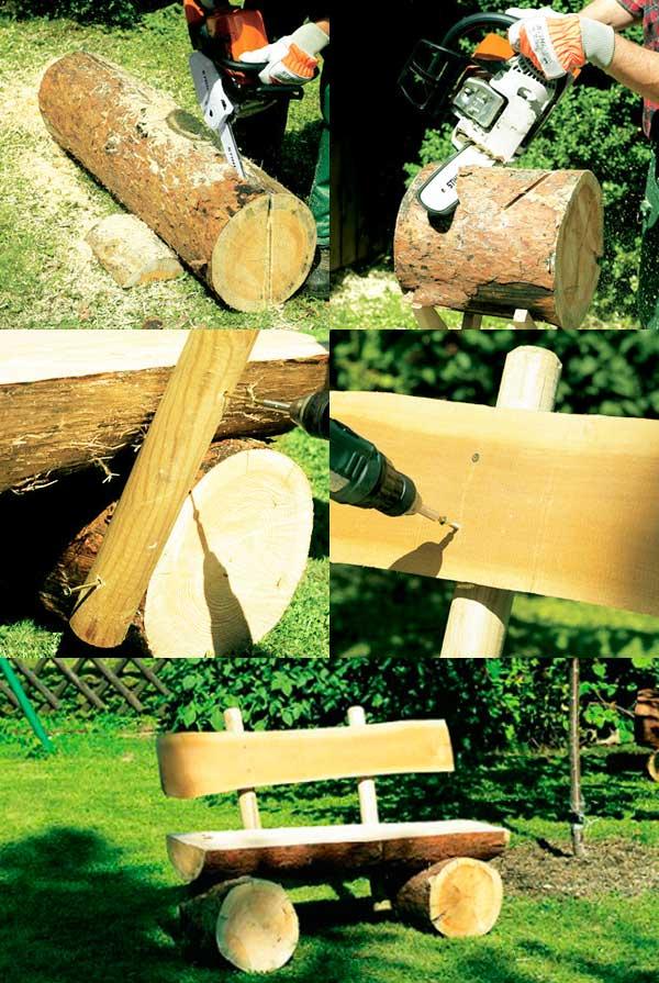 Как сделать скамейку из бревен своими руками фото 71