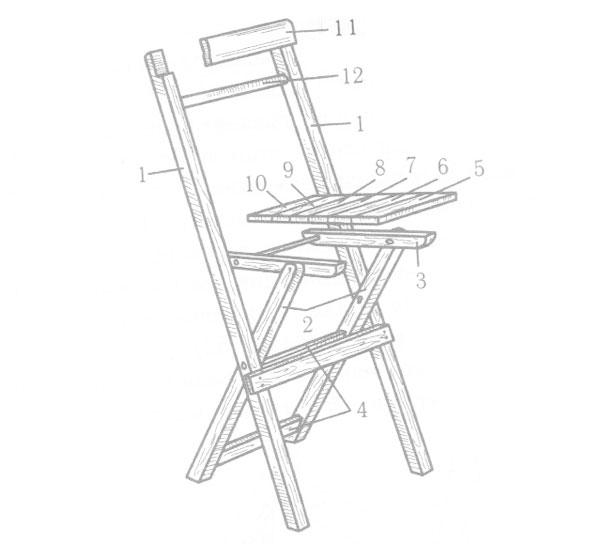 раскладной стул со спинкой чертежи