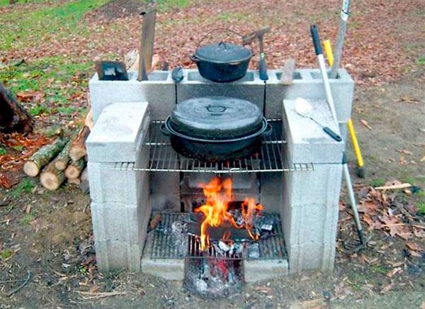 сделать барбекю из шлакоблоков