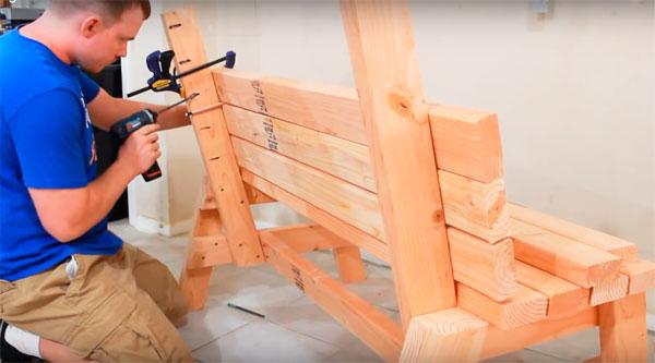 как сделать простую скамейку из дерева