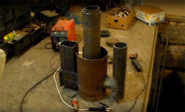 печь ракета из газового баллона