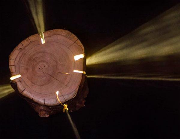 как сделать светильник из пня
