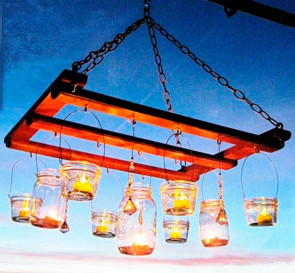 садовые фонари из банки