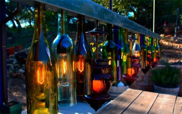 садовые светильники из бутылок