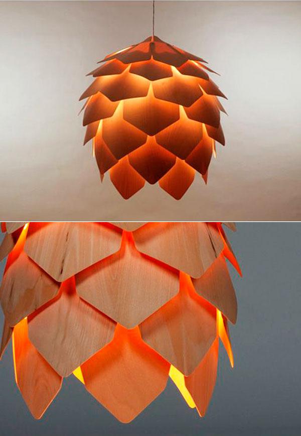 светильник из дерева фото