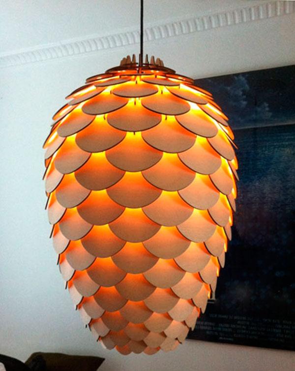 светильник подвесной из дерева