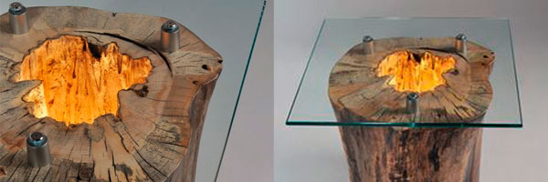 светильник стол из пня