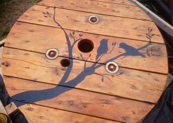 стол для дачи из катушки фото