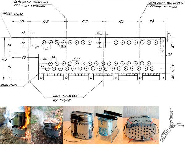 чертежи печи щепочницы под котелок