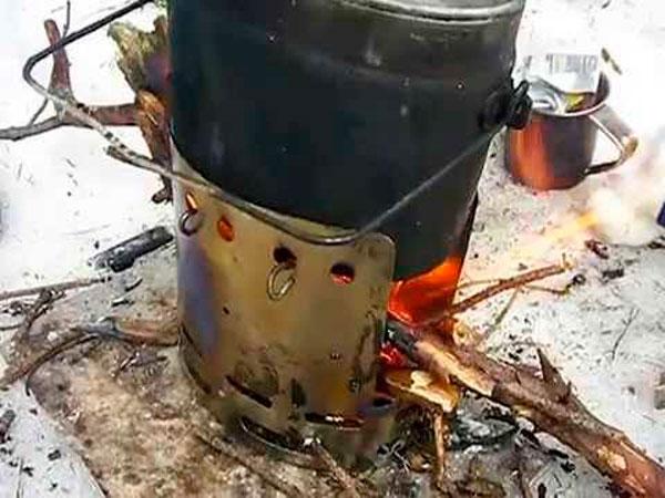 печь щепочница под котелок