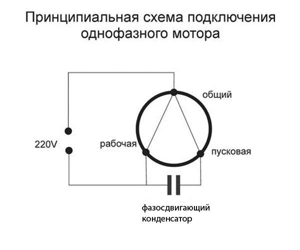 схема подключения двигателя от стиральной машины