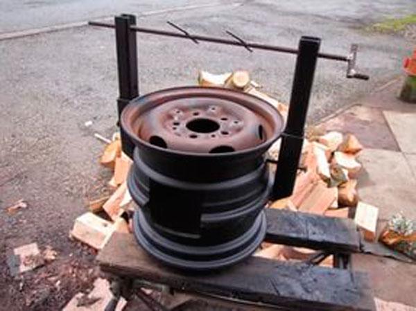 мангал из дисков с вертелом
