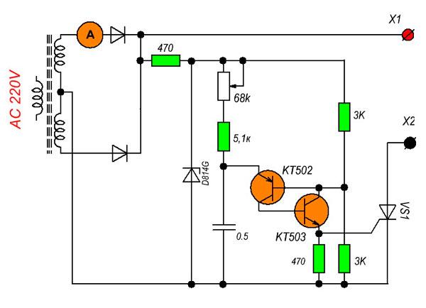 зарядное устройство для автомобильного аккумулятора схема