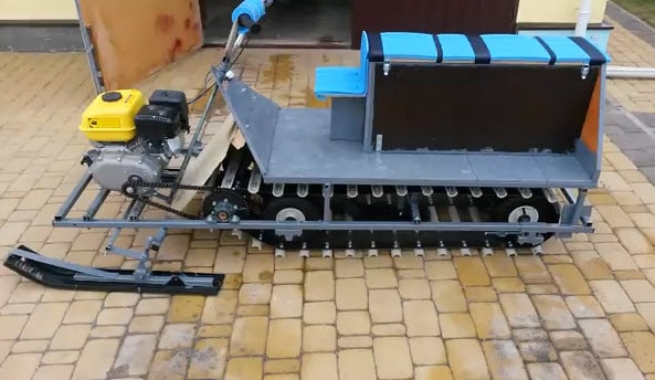 самоделка снегоход из двигателя sadko