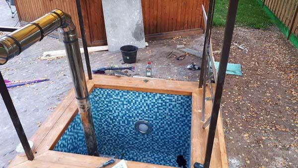 самодельный бассейн с печкой