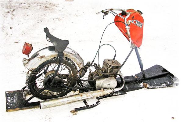 Как самому сделать снегоход из мотоцикла