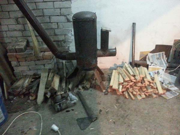 ракетная печь для отопления гаража