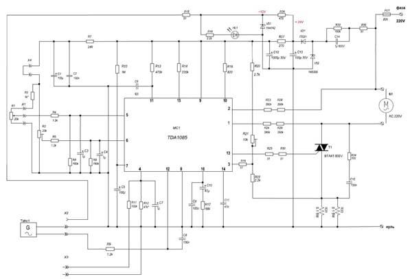 схема Регулятора оборотов двигателя стиральной машины