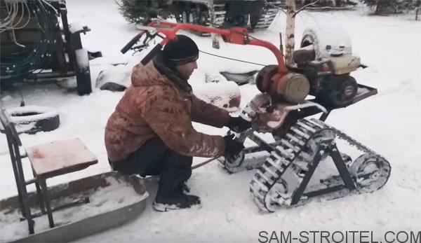 сделал снегоход из мотоблока