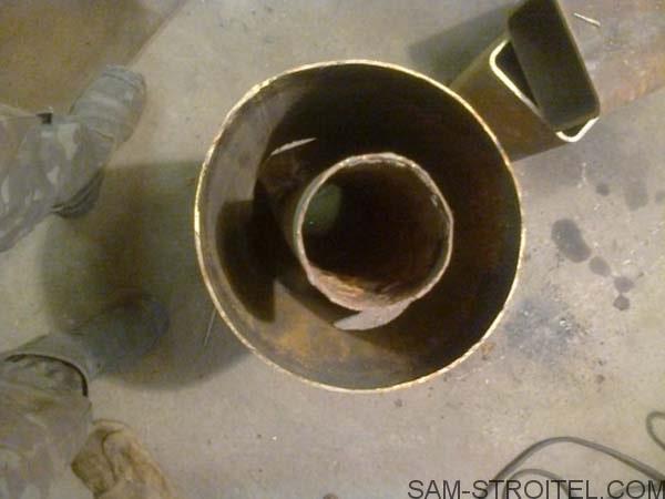 ракетная печь из газового баллона