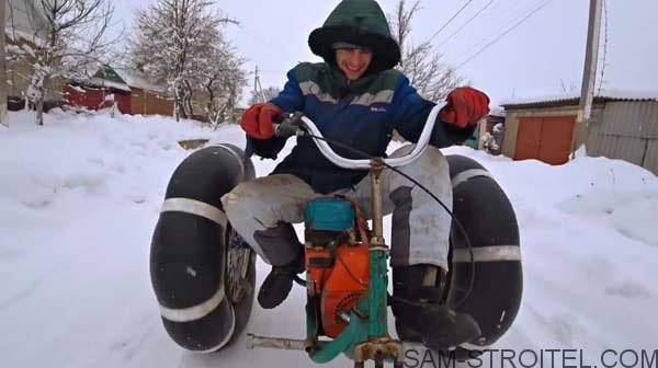 снегоход с двигателем бензопилы своими руками