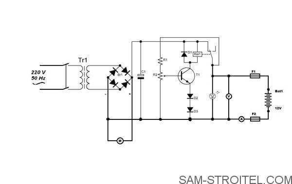 схема Зарядное устройство для автомобильного аккумулятора