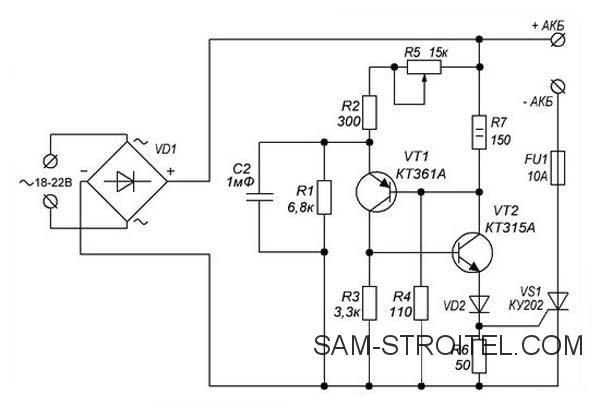 Зарядное устройство для автомобильного аккумулятора своими руками: схема