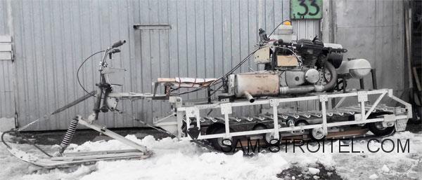 Самодельный снегоход с двигателем от мотоцикла