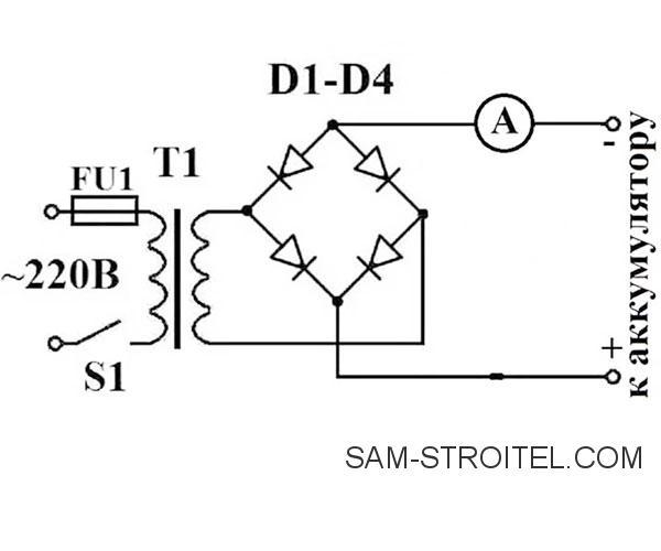 зарядное для АКБ схема