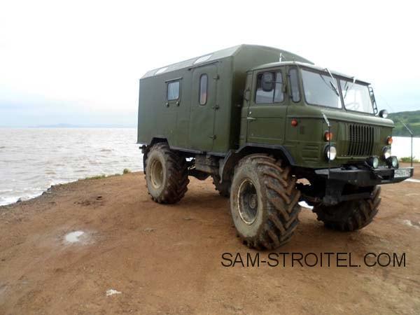 Установил на ГАЗ-66 колёса от трактора Т-150